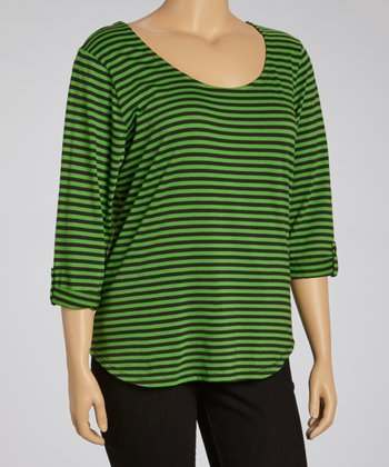 Art Green Stripe Chiffon Racerback Tee - Plus