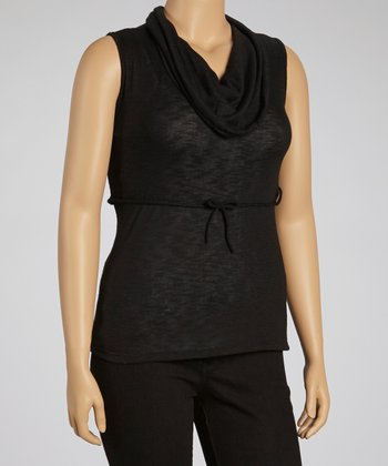 Black Sleeveless Cowl Neck Top	 - Plus