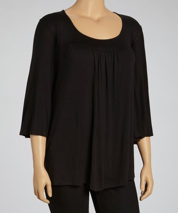 Black Scoop Neck Top - Plus