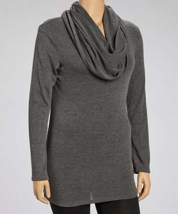 Charcoal Off-Shoulder Tunic - Plus