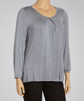 Gray Keyhole Top - Plus