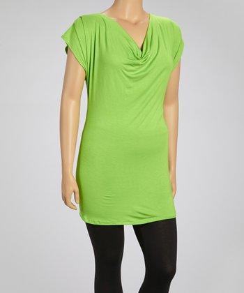 Lime Drape Neck Cutout Top - Plus