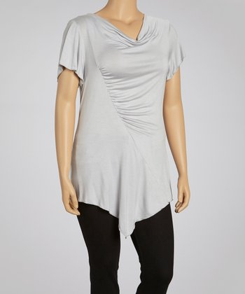 Gray Drape Neck Tunic - Plus