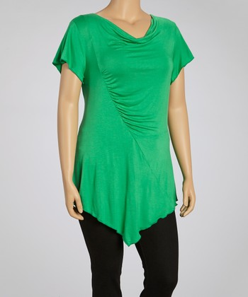 Green Drape Neck Tunic - Plus
