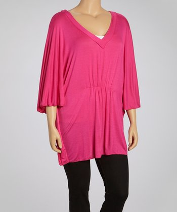 Pink V-Neck Dolman Top - Plus
