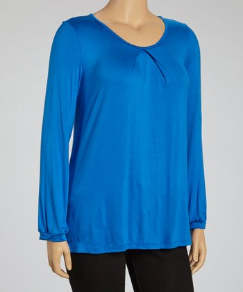 Royal Blue Cutout Top - Plus