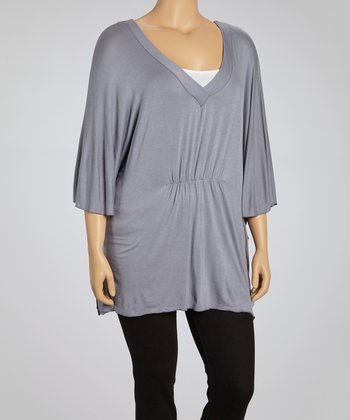 Gray V-Neck Dolman Top - Plus