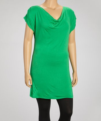 Green Drape Neck Cutout Top - Plus