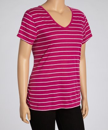 Peony Pink Lace Stripe Top - Plus