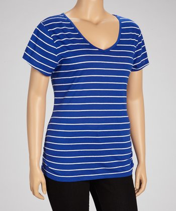 Really Royal Lace Stripe Top - Plus