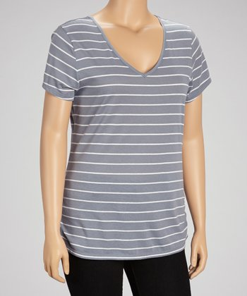 Gunmetal Gray Lace Stripe Top - Plus