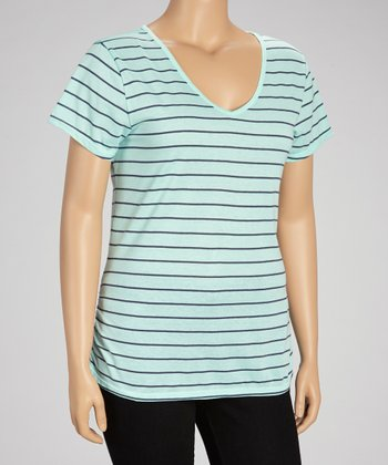 Aquarium Lace Stripe Top - Plus
