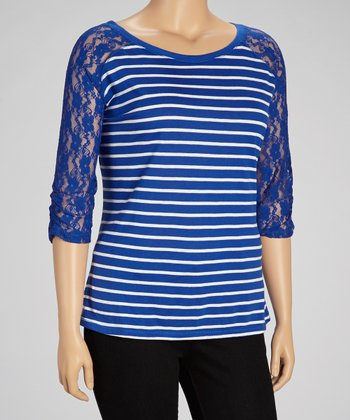 Really Royal Lace Raglan Tee - Plus