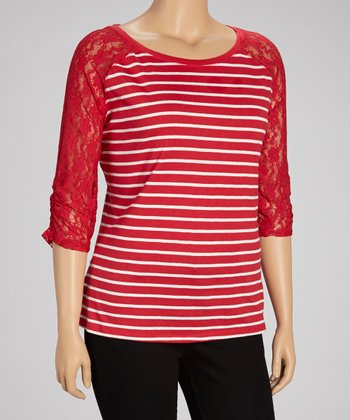 Poppy Red Lace Raglan Tee - Plus