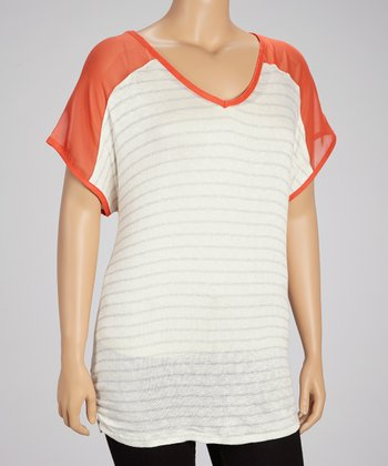 Orange Sunset Stripe Chiffon Raglan Top