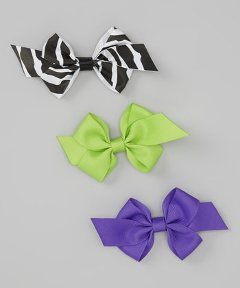 Purple, Zebra & Lime Bow Clip Set