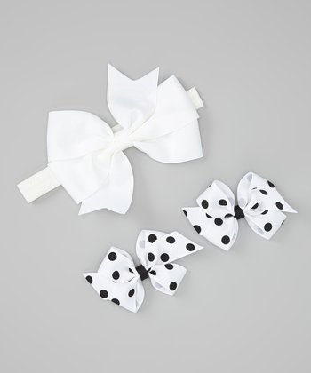 White Bow Headband Set