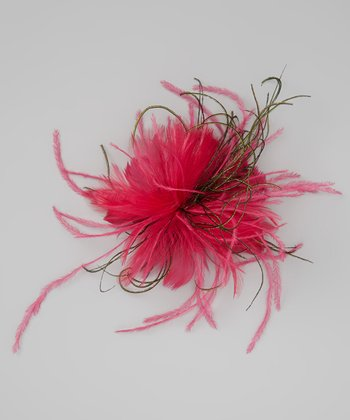 Fuchsia Feather Puff Clip