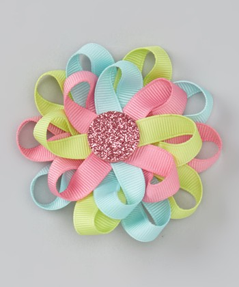 Hot Pink & Blue Loop Flower Clip