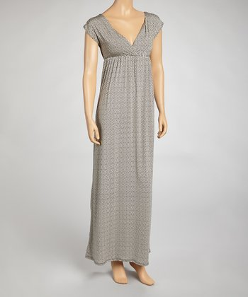 Taupe Greek Key Surplice Dress