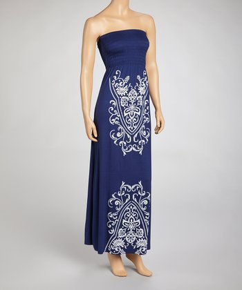 Navy Shirred Strapless Maxi Dress