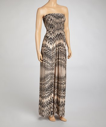 Taupe Shirred Abstract Strapless Dress