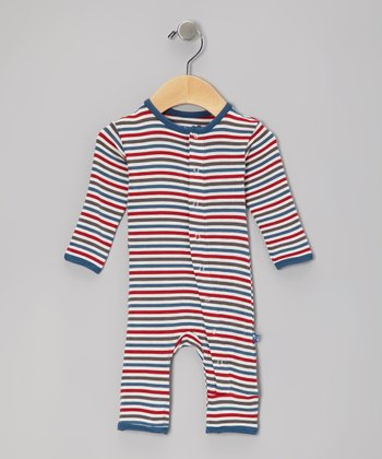 Blue & Red Winter Stripe Playsuit - Infant