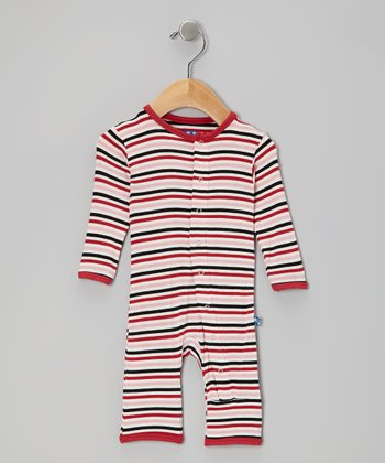 KicKee Pants Dark Pink Winter Stripe Playsuit - Infant