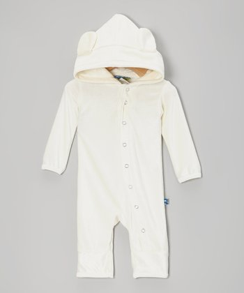 KicKee Pants Natural Velour Hooded Romper - Infant