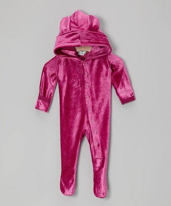KicKee Pants Orchid Velour Hooded Footie - Infant