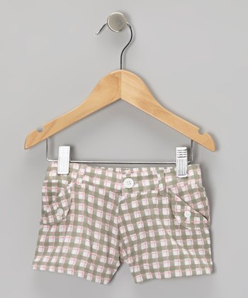 Mist Plaid Woven Shorts - Infant & Girls