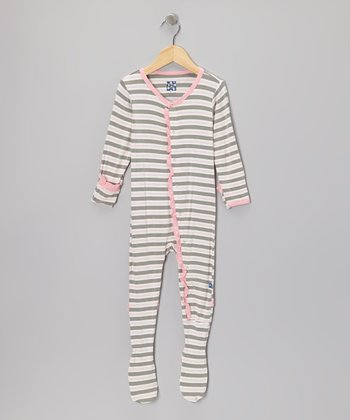 Mist Stripe Ruffle Footie - Toddler