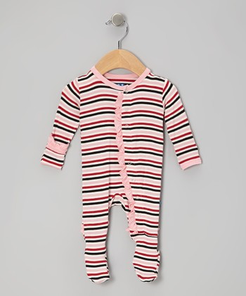 KicKee Pants Pink Winter Stripe Ruffle Footie - Infant