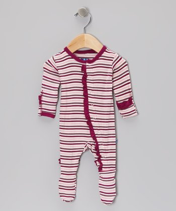 KicKee Pants Orchid Stripe Ruffle Footie - Toddler & Girls
