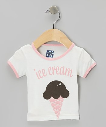 KicKee Pants Natural & Pink Ice Cream Tee - Infant