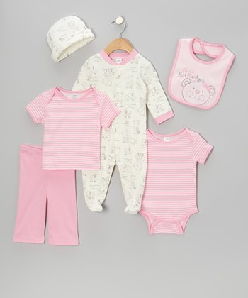 Pink Teddy Bear Footie Set