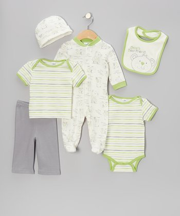 Green & Gray Teddy Bear Footie Set