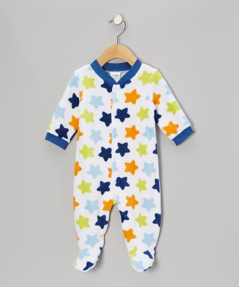 Navy & Orange Star Footie - Infant