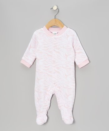 Pink & White Marble Stripe Footie