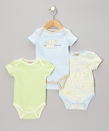 Blue Elephant Bodysuit Set - Infant