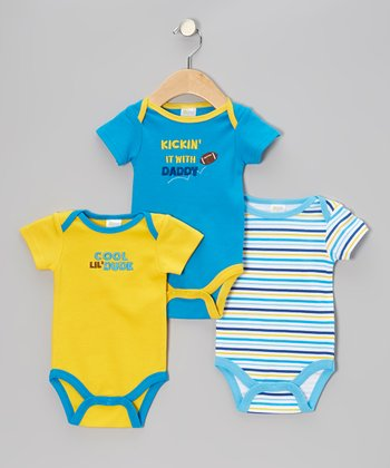 Blue 'Kickin' It With Daddy' Bodysuit Set - Infant