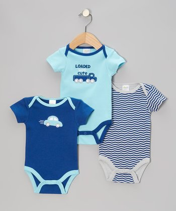 Blue 'Loaded With Cute' Bodysuit Set - Infant