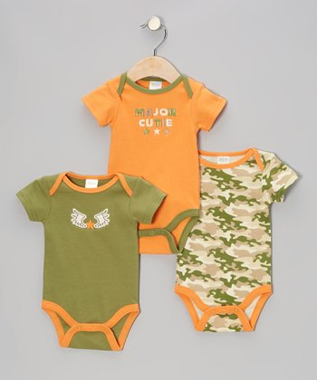 Orange 'Major Cutie' Bodysuit Set