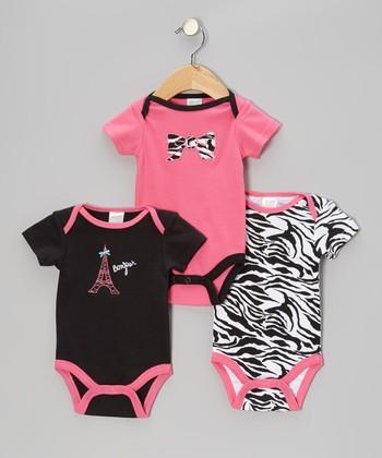 Baby Gear Hot Pink Zebra Bow Bodysuit Set