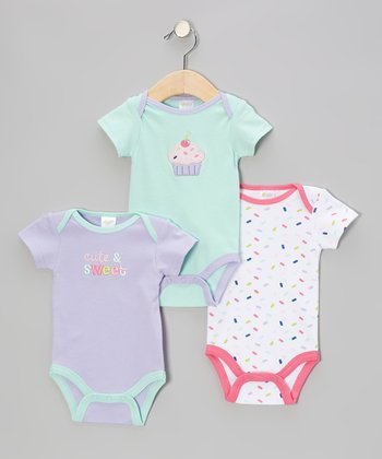 Baby Gear Purple, White & Teal Cupcake Bodysuit Set