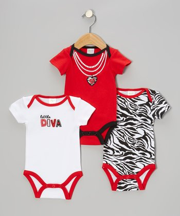 Red Faux Necklace Bodysuit Set - Infant