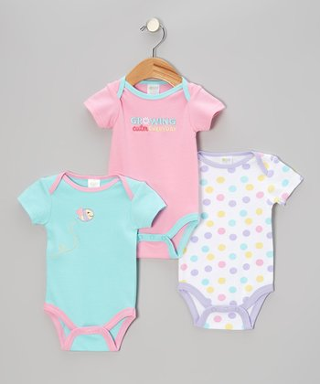 Pink & Blue 'Growing Cuter Every Day' Bodysuit Set