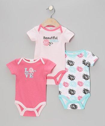 Baby Gear Pink & Blue 'Beautiful Girl' Bodysuit Set