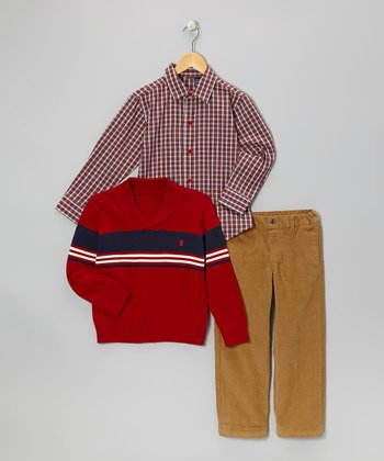 Rio Red Shawl Collar Sweater Set - Boys