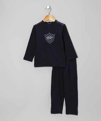 Navy & Gold Stitch Top & Pants - Infant & Toddler